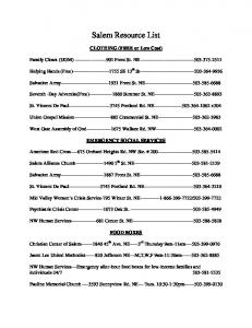 Salem Resource List. CLOTHING (FREE or Low Cost) Family Closet (UGM) Front St. NE