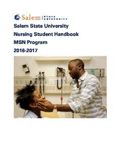 Salem State University Nursing Student Handbook MSN Program