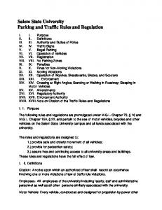 Salem State University Parking and Traffic Rules and Regulation