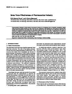 Sales Force Effectiveness of Pharmaceutical Industry