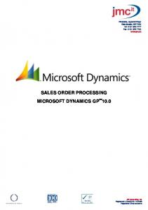 SALES ORDER PROCESSING MICROSOFT DYNAMICS GP 10.0