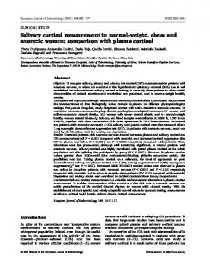 Salivary cortisol measurement in normal-weight, obese and anorexic women: comparison with plasma cortisol