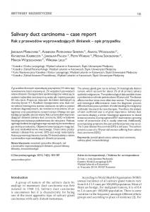Salivary duct carcinoma case report