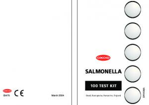 SALMONELLA 100 TEST KIT DR1108A March Oxoid, Basingstoke, Hampshire, England