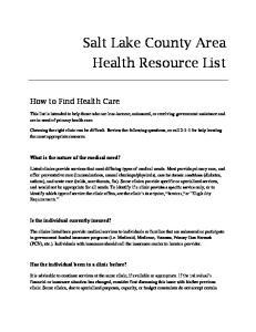 Salt Lake County Area Health Resource List