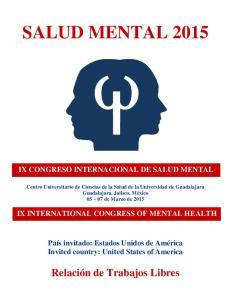 SALUD MENTAL 2015 IX CONGRESO INTERNACIONAL DE SALUD MENTAL