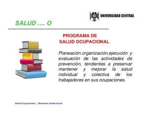SALUD. O PROGRAMA DE SALUD OCUPACIONAL