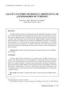 SALUD Y FACTORES DE RIESGO CARDIOVASCULAR GENERADORES DE TURISMO?
