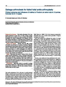 Salvage arthrodesis for failed total ankle arthroplasty