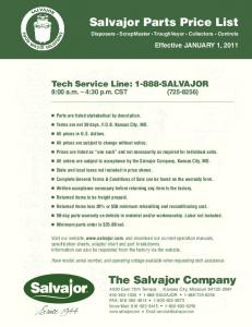 Salvajor Parts Price List Disposers ScrapMaster TroughVeyor Collectors Controls