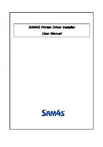 SAM4S Printer Driver Installer User Manual