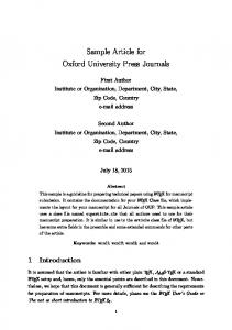 Sample Article for Oxford University Press Journals