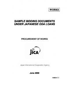 SAMPLE BIDDING DOCUMENTS UNDER JAPANESE ODA LOANS