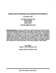 SAMPLE BOAT PURCHASE AND CONSTRUCTION CONTRACT
