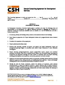 Sample Consulting Agreement for Development Services