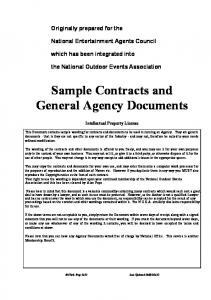 Sample Contracts and General Agency Documents