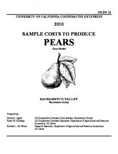 SAMPLE COSTS TO PRODUCE PEARS