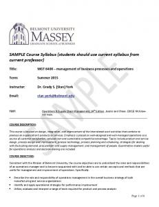 SAMPLE Course Syllabus (students should use current syllabus from current professor)