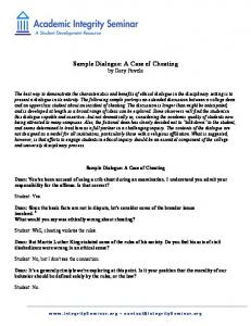 Sample Dialogue: A Case of Cheating by Gary Pavela