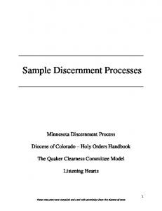 Sample Discernment Processes