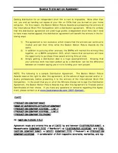 SAMPLE DISTRIBUTION AGREEMENT