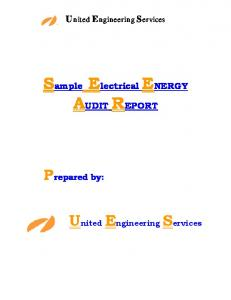 Sample Electrical ENERGY AUDIT REPORT