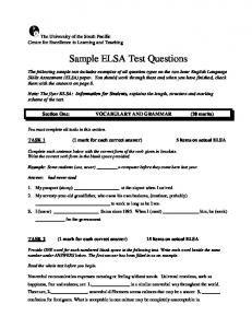 Sample ELSA Test Questions