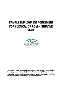 SAMPLE EMPLOYMENT AGREEMENT FOR CLERICAL OR ADMINISTRATIVE STAFF