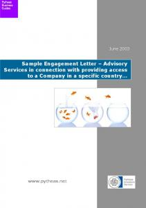Sample Engagement Letter Advisory Services in connection with providing access to a Company in a specific country