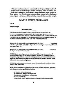 SAMPLE ETHICS ORDINANCE