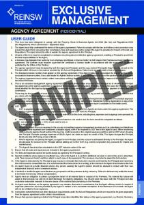 SAMPLE EXCLUSIVE MANAGEMENT AGENCY AGREEMENT (RESIDENTIAL)