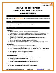 SAMPLE JOB DESCRIPTION SHAREPOINT SITE COLLECTION ADMINISTRATOR