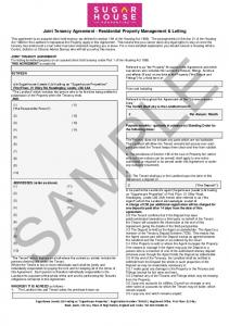 SAMPLE. Joint Tenancy Agreement - Residential Property Management & Letting