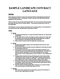 SAMPLE LANDSCAPE CONTRACT LANGUAGE