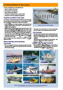 Sample pages. Sample. Sample. Sample. 1.4 Seaworthiness of the vessel. Physical condition of the boat. Boat suitability and propulsion