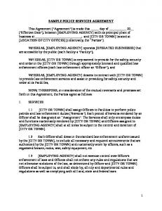 SAMPLE POLICE SERVICES AGREEMENT