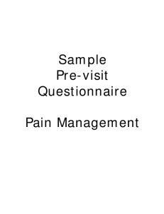 Sample Pre-visit Questionnaire. Pain Management