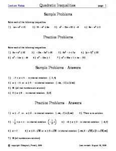 Sample Problems. Practice Problems. Sample Problems - Answers. Practice Problems - Answers