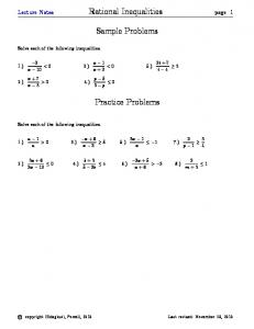 Sample Problems. Practice Problems