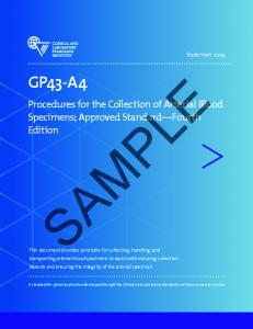SAMPLE. Procedures for the Collection of Arterial Blood Specimens; Approved Standard Fourth Edition