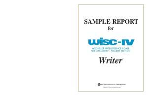 SAMPLE REPORT for. Writer