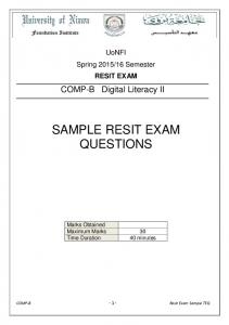 SAMPLE RESIT EXAM QUESTIONS