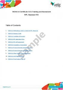 Sample. RPL Assessor Kit. Table of Contents. TAE40116 Certificate IV in Training and Assessment