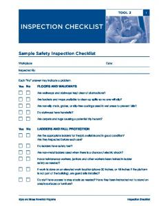 Sample Safety Inspection Checklist
