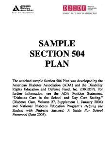 SAMPLE SECTION 504 PLAN