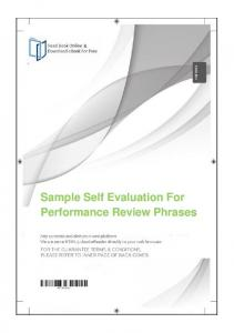Sample Self Evaluation For Performance Review Phrases