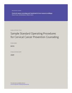 Sample Standard Operating Procedures for Cervical Cancer Prevention Counseling