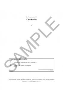 SAMPLE. The Companies Act Constitution