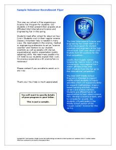 Sample Volunteer Recruitment Flyer