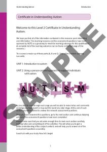 SAMPLE. Welcome to this Level 2 Certificate in Understanding Autism
